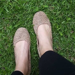 #154 New Cheetah suede Round Toe Ballet Flats 7.5